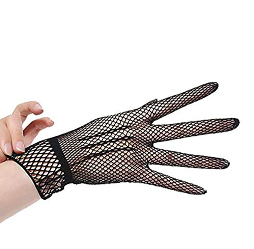 (PITH Women's Sexy Mesh Fishnet Sunscreen Wrist Length Crochet Victorian Gothic Style Gloves)