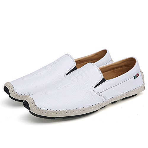 Sunrolan Men's Casual Crocodile Pattern Slip on Comfort Fit Walking Loafer Leather Shoes White mzmpria35M