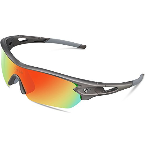 TOREGE Polarized Sports Sunglasses with 5 Interchangeable Lenes for Men Women Cycling Running Driving Fishing Golf Baseball Glasses TR002 (Grey Frame&Rainbow Lens) -