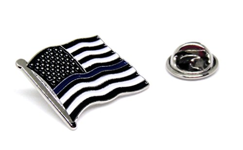 Blue Thin Line US Flag - USA Proudy Patriotic American Standard Official Police Lapel Pin Series (Blue Line Standard)