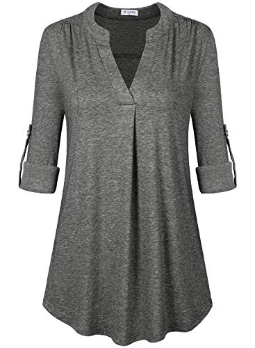 Sleeve 1/2 Top (Bulotus Women's 1/2 Sleeve Business Casual Work Office Tunic Top Dark Grey M)