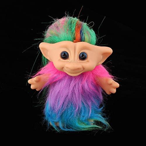 ヴィンテージ トロール人形 カラフルスカート ドールハウス人形 飾り