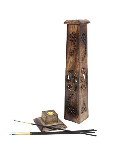 Bignay Handmade Indian Traditional Wood Incense Stick, Tower Incense Burner, 12 Inch Agarbatti Holder, Incense Stick Holder Tower Stand (Incense Stick Holder Tower Stand)
