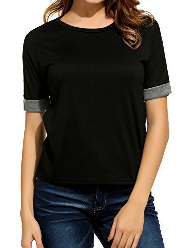 Meaneor Women Solid Comfy Loose Fit Roll Over Short Sleeve V Neck Lightweight Top Tee – Small, Black 2