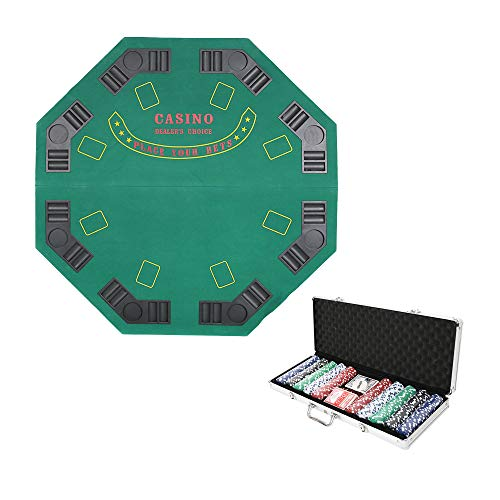 - Dporticus Folding Blackjack/Poker Game Table Top Octagon 8 Player with Poker Set