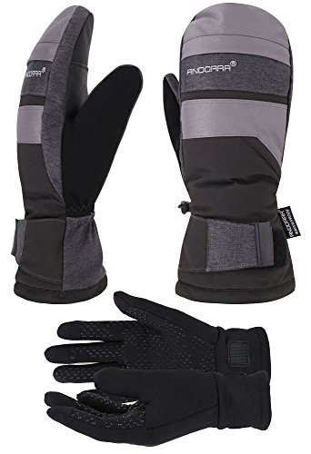 ANDORRA Hyper Tech Touchscreen Mittens w/ Pockets & Optional Light Inner Gloves, Lens-Wiper Thumbs,L/XL,Black+Grey