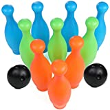 High Bounce Bowling Playset with 10 Pins and 2 Balls, Indoor and Outdoor Bowling Alley Game for Kids Boys and Girls