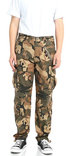 PIZOFF Men's Fashion Classic Design Military Camouflage Pants with 8 Pocket Casual Work Combat Trousers with Adjustable Trouser - 8 Person Canister