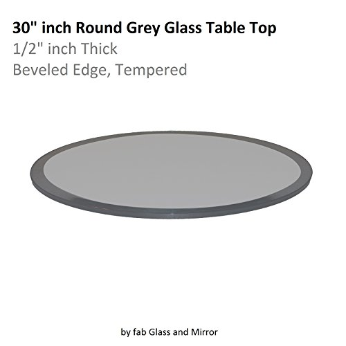 Fab Glass and Mirror Glass Table Top: 30'' Round 1/2'' Thick Beveled Tempered, Grey by Fab Glass and Mirror