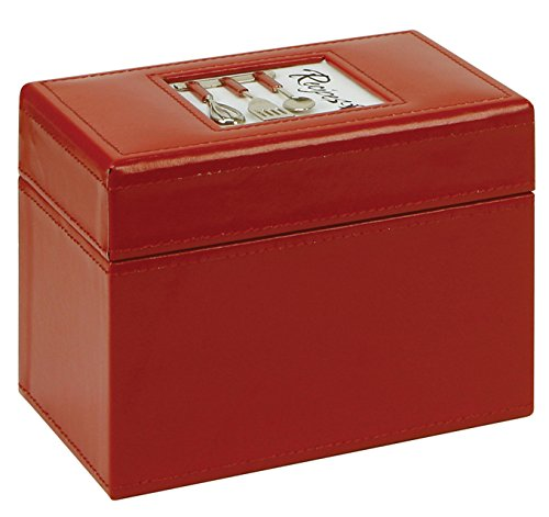C.R. Gibson Recipe Card File Box, Comes With 40 4'' by 6'' Blank Recipe Cards, 6.5'' W x 4.75'' L x 4.25'' H