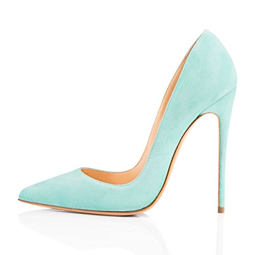 (onlymaker Women's Sexy Pointed Toe High Heel Slip On Stiletto Pumps Large Size Basic Shoes Light Green Suede 8 M US)