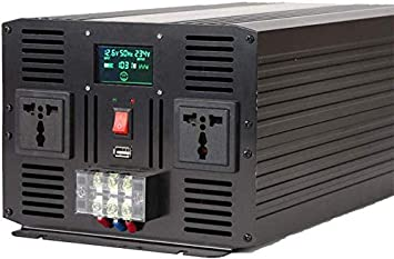 SPLY DTEM 3000W Car Truck,12vto110v UE 6000W Peak Color : 24vto110v Pure Sine Wave Power Inverter 12//24V DC to 110//230 V AC Converter with 2 AC Outlets and LCD Display,Suitable for Home