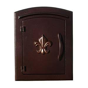 "Qualarc MAN-1402-AC Manchester Column Mount Aluminum Mailbox with ""Decorative Fleur De Lis Logo"", Antique Copper"