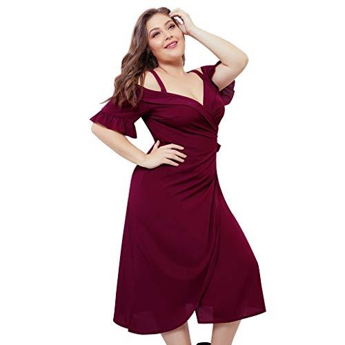 Dress Plus Size for Women V Neck Strap Cold Shoulder Ruffled Front Split Casual Dresses (XXL, Red)