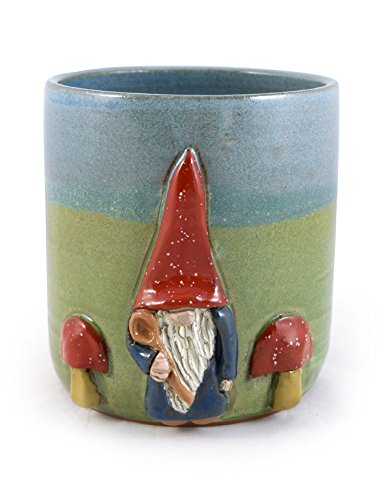 Modern Artisans American Made Stoneware Pottery Countertop Utensil Caddy Jar with Gnome Motif ()