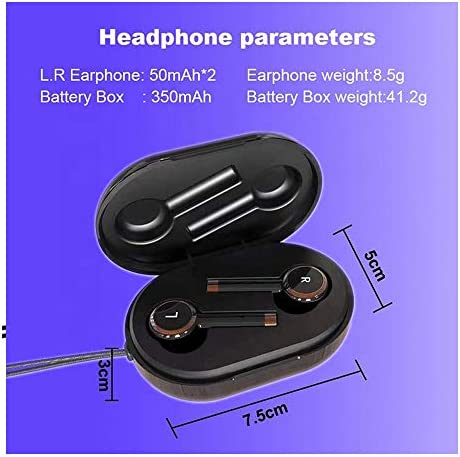 True Wireless Stereo Earbuds Wireless Headset in-Ear Earbuds Sports Headset, Wireless 5.0 Auto Pairing with Charging Case Noise-Reduction high-Definition three-D Stereo Compatible with Apple AirPods