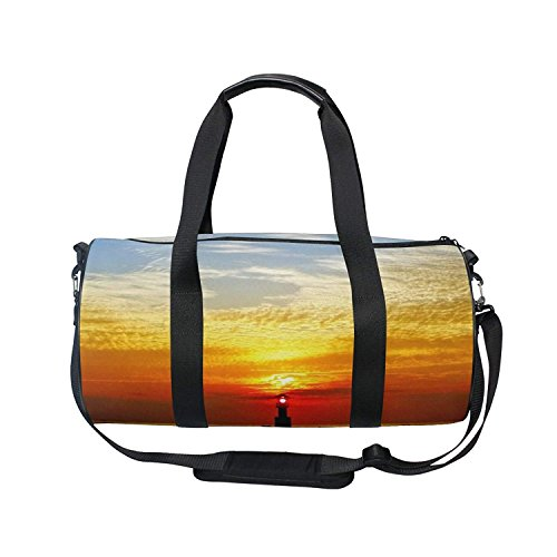 Nature Ocean Sea Sunset Lighthouse Sports Gym Shoulder Handy Duffel Bags by KMAND