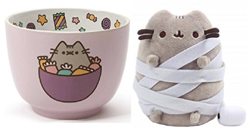 Enesco Large Pusheen Candy Bowl bundle with Halloween Mummy Pusheen Plush