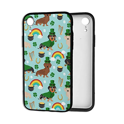 St Patricks Day Leprechaun Doxie Dog Rainbow iPhone XR Case Theme Cover Decorative Mobile Accessories Ultra Thin Lightweight Shell Pattern Printed Ornament Decorations