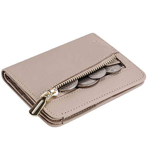 Itslife Women's Rfid Blocking Small Compact Bifold Leather Pocket Wallet Ladies Mini Purse with id Window (Stripe Apricot)