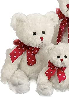 Lovable - White Valentines Bear with Red Ribbon