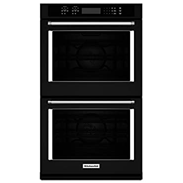 KitchenAid KODE507EBL 27 Double Electric Wall Oven with 4.3 cu. ft. Convection Ovens, Temperature Probes, Glass Touch Display, Halogen Lighting and Self Clean Cycle