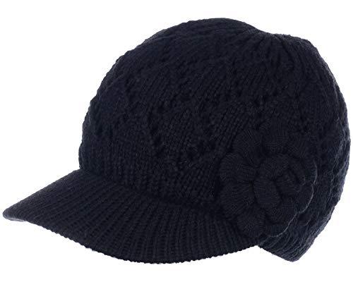 BYOS Womens Winter Warm Fleece Lined Knitted Beret Beanie Hat Cap w/Visor Peak (Diamond Pattern w/Flower Black) ()