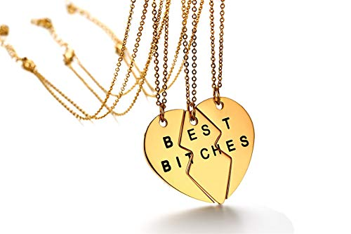 Mealguet Jewelry Gold Plated Stainless Steel Split Matching Heart Shape Best Bitches BFF Best Friend Necklaces for 3 Bestie, 3 Chains