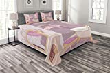 Lunarable Teen Girls Bedspread Set Queen Size, Fancy Bathroom Design in The Palace of The Princess with Bathtub Cabinet Mirror, Decorative Quilted 3 Piece Coverlet Set with 2 Pillow Shams, Pink Beige