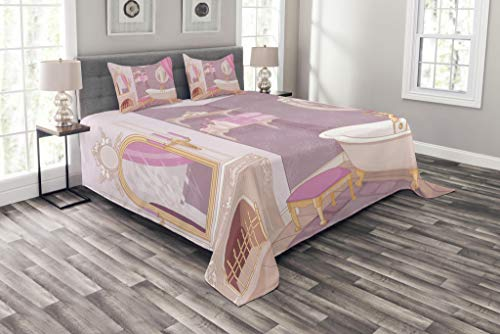 Lunarable Teen Girls Bedspread Set Queen Size, Fancy Bathroom Design in The Palace of The Princess with Bathtub Cabinet Mirror, Decorative Quilted 3 Piece Coverlet Set with 2 Pillow Shams, Pink Beige by Lunarable