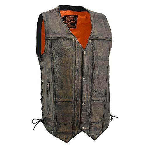 Distressed Leather Motorcycle Vest - Milwaukee Men's Distressed 10 Pocket Vest (Brown, X-Large)