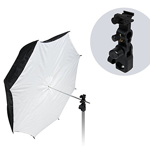 LimoStudio Flash Hot Shoe Mount Adapter Trigger Umbrella Holder Swivel Light Stand Bracket and 39'' Reflective Umbrella Reflector, Photo Video Studio, AGG1852 by LimoStudio
