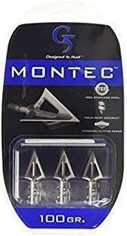 G5 Outdoors Montec 100% Stainless Steel Fixed Broadheads. Simple to Use, High Performance Broadhead. (3 Pack)