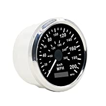 Autool GPS Stainless Waterproof Speedometer 0-200KMH 0-300 MPH For Car Motorcycle Truck Vans 85mm 12V/24V Automotive Instrument Panel Speedometer Gauges