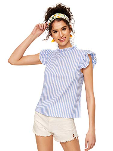 Ruffle Striped Shirt Short Cotton Sleeve - Romwe Women's Cotton Stripe Ruffle Sleeve Elegant Blouse Summer Top Blue X-Small