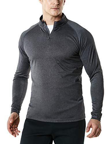 (TSLA Men's 1/4 Zip HyperDri Cool Dry Active Sporty Shirt Top, Hyper Dri(mkz03) - Carbon Charcoal,)