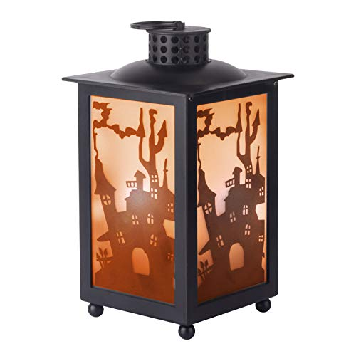 KI Store Halloween Decorations Flickering Flame Effect Lantern Light Hanging Lanterns Battery Operated for Mantel Window Tabletop Porch Front Door Ghost Haunted House Garden Yard(Lantern Medium House)