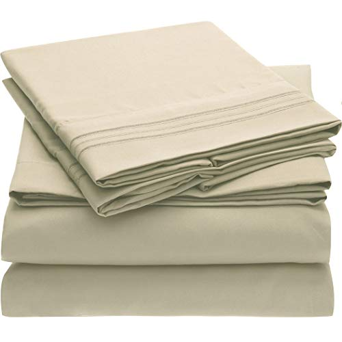 Mellanni Bed Sheet Set Brushed Microfiber 1800 Bedding - Wrinkle, Fade, Stain Resistant - 5 Piece (Split King, Beige)
