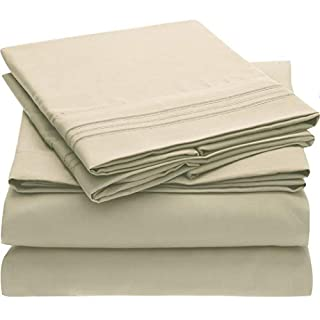 Mellanni Bed Sheet Set - Brushed Microfiber 1800 Bedding - Wrinkle, Fade, Stain Resistant - Hypoallergenic - 4 Piece (King, Beige) (B00NQDGBTC) | Amazon price tracker / tracking, Amazon price history charts, Amazon price watches, Amazon price drop alerts