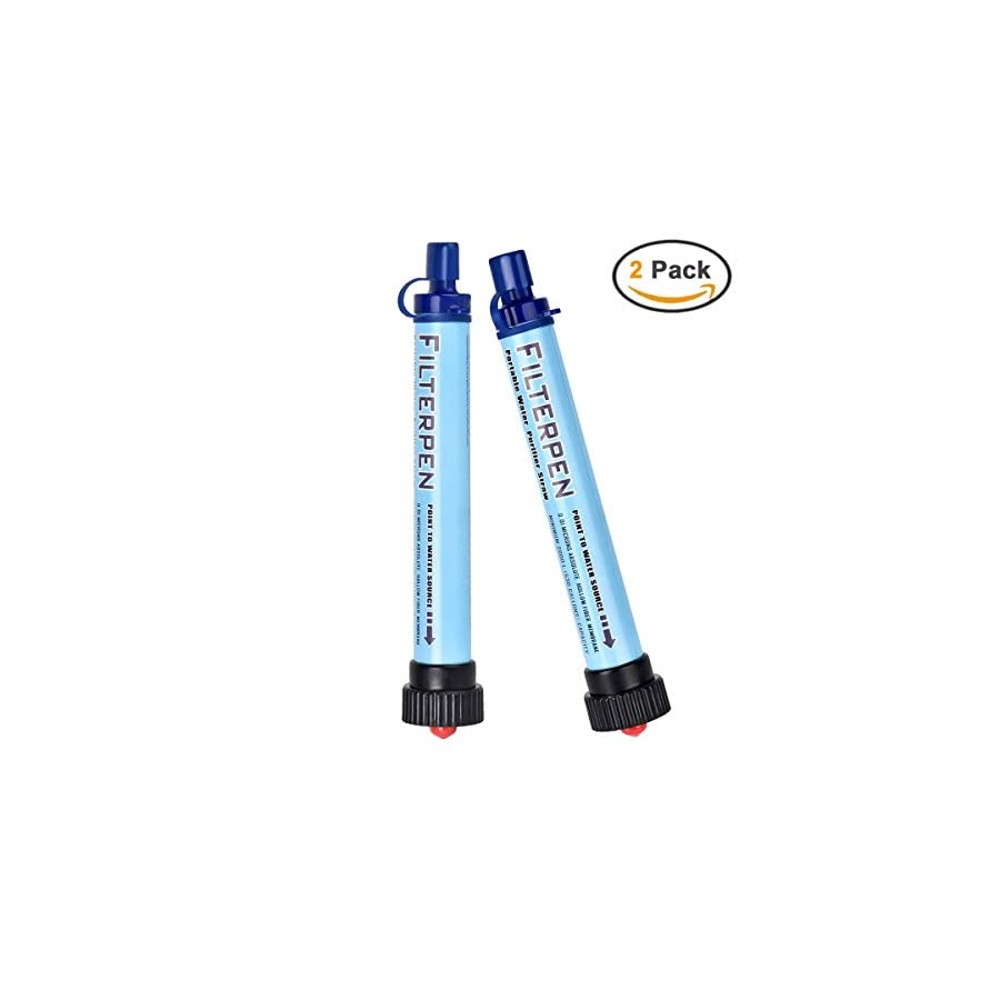 Personal Water Filter, Epress Mini Portable Water Purifier Straw 2000L Outdoor Survival kit Emergency Camping Equipment for Outdoor Camping Life, Hiking, Climbing, Traveling, Backpacking (2 pack)
