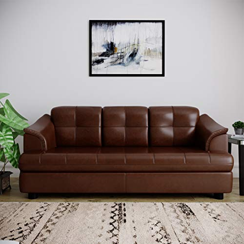 B Bharat Lifestyle Gayana Leatherette 3 Seater Brown Sofa