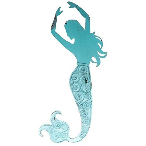 (Blue Metal Swirl Mermaid Wall Decor)