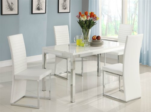 Clarice 5 PC Dining Table Set by Homelegance in Gloss White