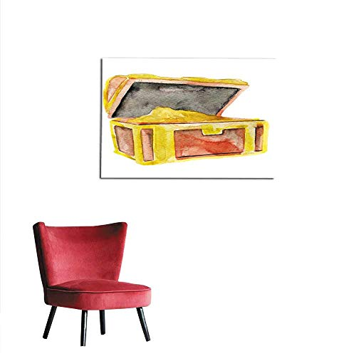 (Painting Post Watercolor Sketch of Wooden Chest on White Background Mural 24