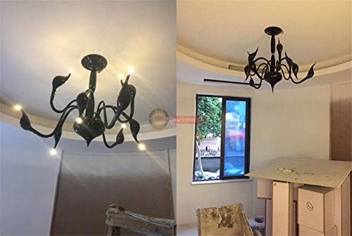FidgetGear Modern Swan LED Pendant lamp Ceiling Light Chandelier Living Room Lighting Φ88cm White + LED Bulbs by FidgetGear (Image #4)