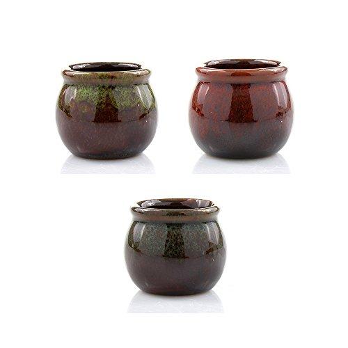 (NW Wholesaler - Set of 3 - Ceramic Two Tone Mini Planter Pot Set (Red, Green &)