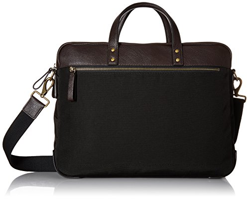 (Fossil Men's Haskell Double Zip Leather Brief Workbag, Nylon Black, One Size)
