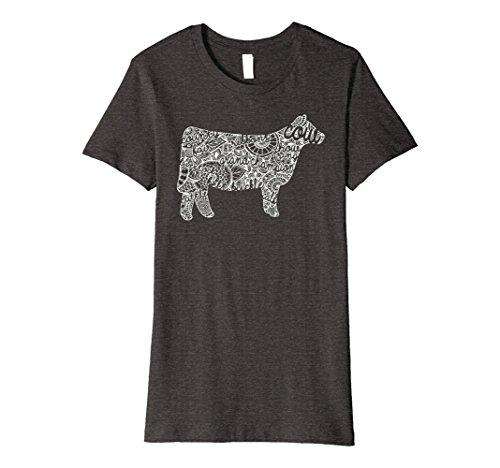 Womens Cow Livestock Show Mandala Shirt - Cattle Beef Stock Show Medium Dark Heather