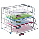 Alba Side Load Letter Size Letter Tray with 4 Sliding Shelves - Chrome