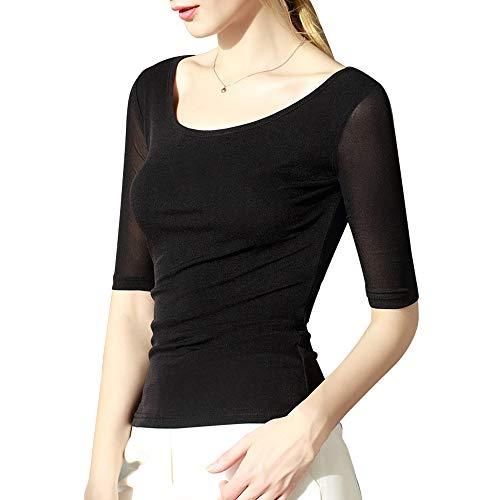 Fendou Scoop Neck Top Mesh See Through Half Sleeve for Women Sheer Slim Fit Tee Fitted Layering T Shirt Summer Black